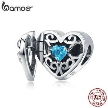 BAMOER sıcak satış 925 ayar gümüş her zaman kalp ilmek sürpriz kutusu boncuk Fit Charm bilezikler boncuk takı yapımı SCC1053