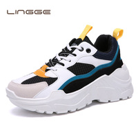 LINGGE 2019 Summer Men's sneakers Colorful Increasing Thickening Sole Outdoor Breathable Mesh Light Dad shoes Zapatillas Hombre