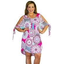 S-6XL Large Size Women Beach Dress 2019 Summer Off Shoulder Holiday Dresses Ladies Cotton Plus Casual Vintage Print
