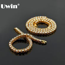 UWIN 1 Row Tennis Chains & Bracelet Fashion Hiphop Jewelry Set Gold /White Gold 5mm Necklace Full Rhinestones For Men Women(China)