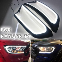1Pair NEW Design Brighter Headlight Headlamp LED ABS Cover Trim Hood Part For FORD For RANGER T6 WILDTRAK 2015 2018