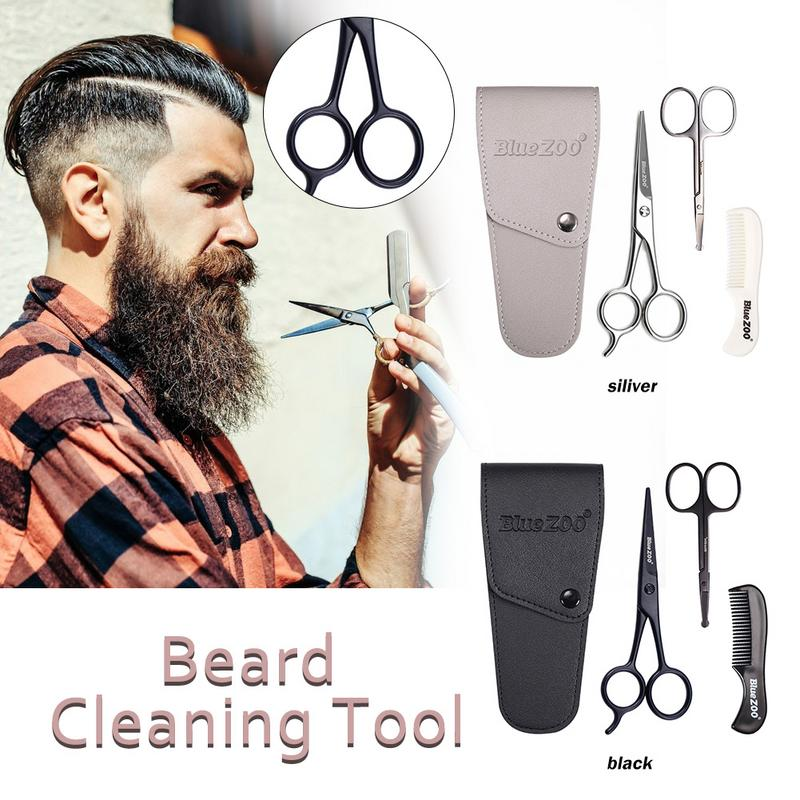 Mens Beard Grooming And Trimming Kit Beard Bristle Brush Beard Comb And Mustache Scissor Male Facial Beard Cleaning Tool
