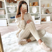 YJSFG HOUSE Womens Sweaters 2PCS Sets Jumpsuit Knitted Top Long Pants Ladies Winter Warm Suits Outfits Bodycon Casual Playsuit