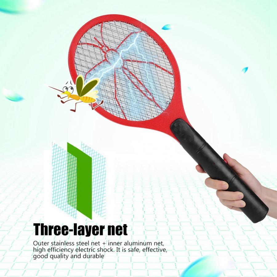 Bug Zapper Racket Mosquito Swatter Battery-Power Insects Killer Electric Fly Cordless