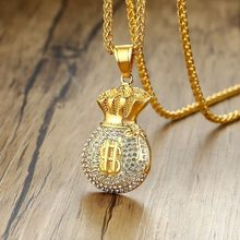 Moneybag Necklace Gold Tone Money Purse Charm Bank Bag Pendant Dollar Sign Banker Coin Bag Colar(China)