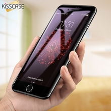 KISSCASE 6D Full Glass Screen Protector For iPhone 6 6S plus Arc Carbon Fiber Soft-edge Tempered Glass For iPhone 7 7 plus Film 0 3mm anti uv tempered glass screen film cover for iphone 6s 6 4 7 arc edge black
