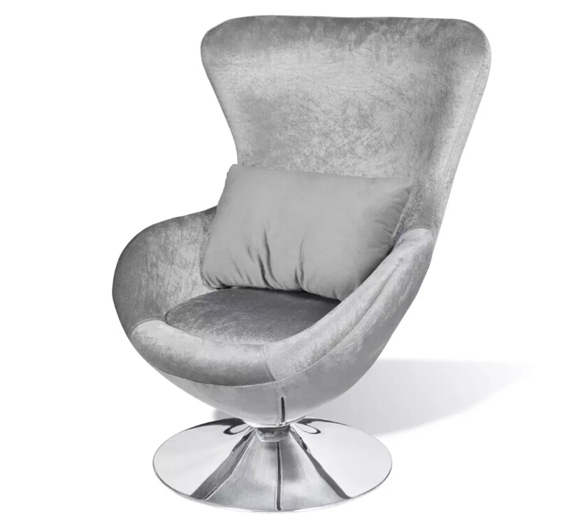 VidaXL Silver Foil Shaped Chair 360 ° Rotated Living Room Chairs With A Removable Seat Cushion Suitable For Home Office