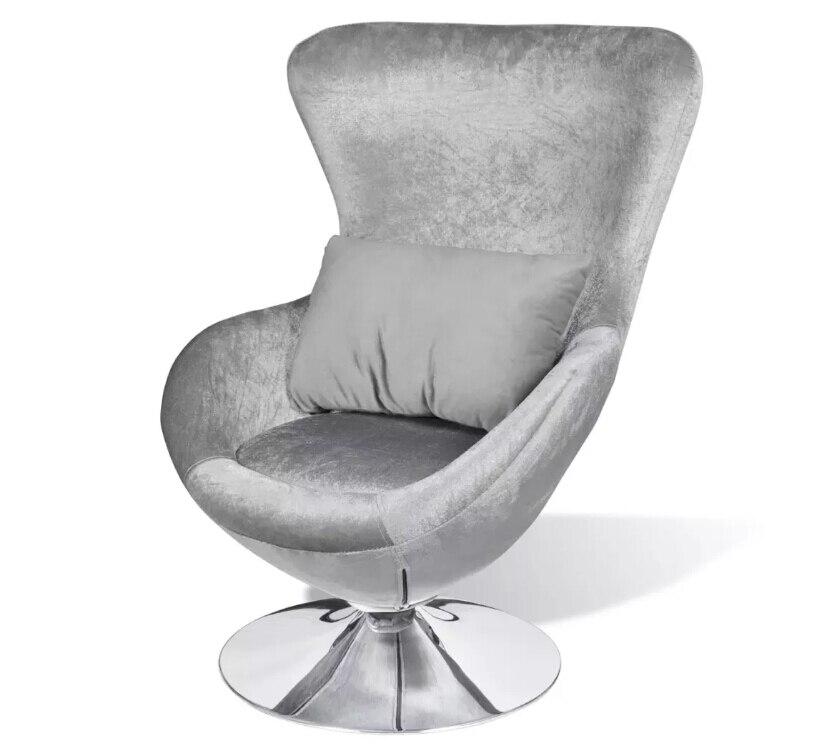 VidaXL chaise en forme de feuille d'argent 360 ° pivotant chaises de salon avec un coussin de siège amovible adapté pour le bureau à domicile