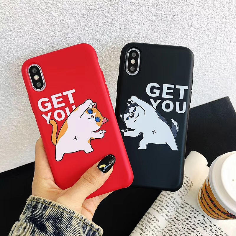 Lovely dog and cat phone case For iphone Xs case For iphone 8 case For iphone X XR Xs Max 6S 6 7 8 Plus Lovers GET YOU soft case