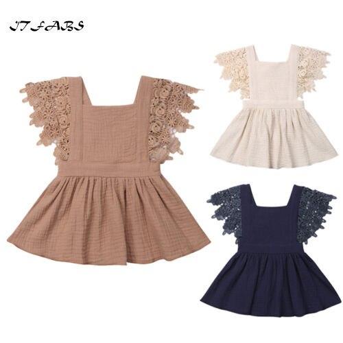 Cute Baby Girl Summer Lace Boho Dress Summer Petal Sleeve Solid Cotton Soft Knee Length Dress Party Wedding Princess Dresses Платье