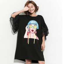 #1655 Summer Black Big Size Long T Shirts Women Flare Sleeve Loose Plus Size T Shirt For Women 4XL 5XL 6XL 3D Printed T-shirt все цены