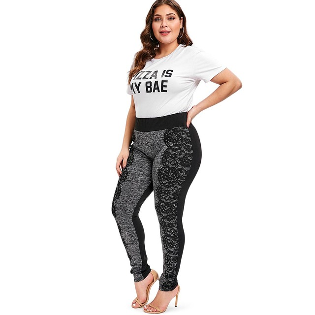 Women's Lace Trim Melange Grey Plus Size Leggings  XL-5XL