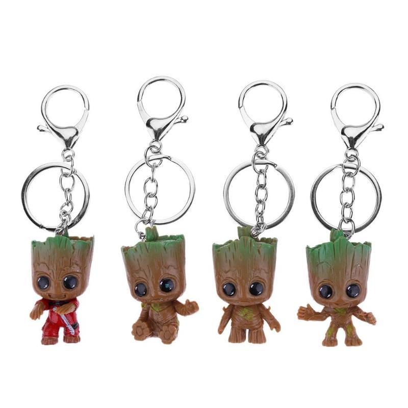 4pcs Guardians Galaxy Figure Tree Man Car Decoration Toys Groot Keychain Model Statue Red Tree Man Baby Figurine Keychain