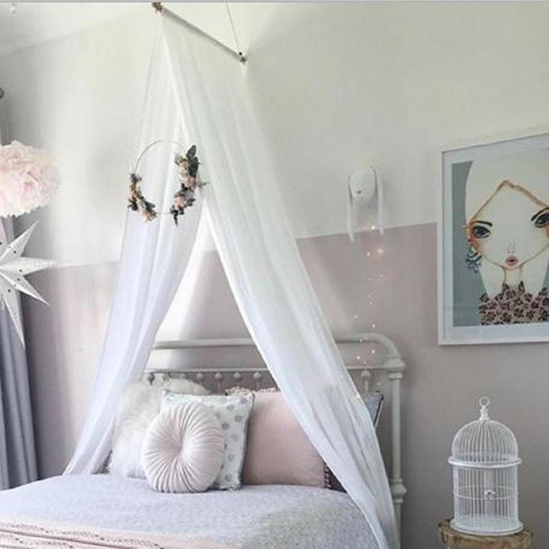 5 Colors Diy Mosquito Net Children Room Chiffon Bed Curtain Baby Crib Canopy Transparent For Baby Kid Reading Playing Home Decor