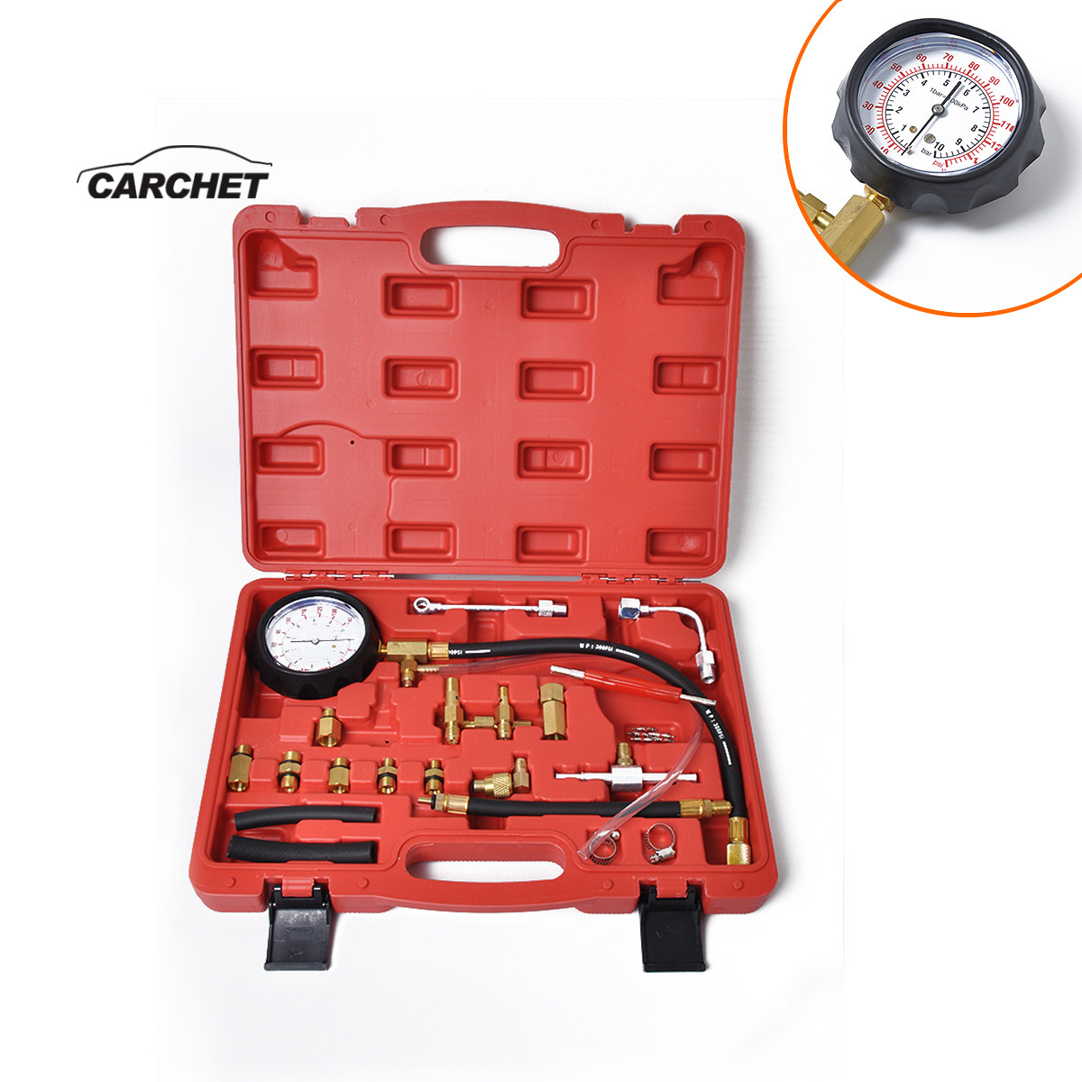 CAECHET TU 114 Professional Fuel System Testing Gauge Fuel Pressure Tester Set Fuel Injection Pump Diagnostic