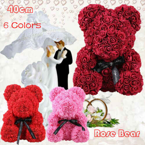 40cm Rose Teddy Bear W Heart Flower Gift For Girlfriend Birthday Wedding Valentine Romantic