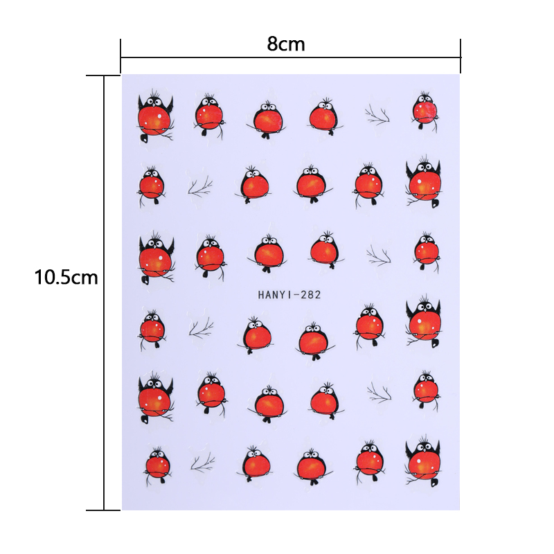 Image 2 - 3D Nail Art Stickers Decals Nail Decorations Adhesive Transfer Sticker Cute Red Fly Birds Nail Art Accessories-in Stickers & Decals from Beauty & Health