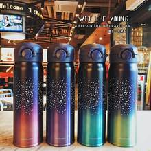 Stainless Steel Vacuum Bottle Wholesale Star Vacuum Bottle With Flip Open Lid Student Mug Leak-proof Straight Bottle 500 ML(China)