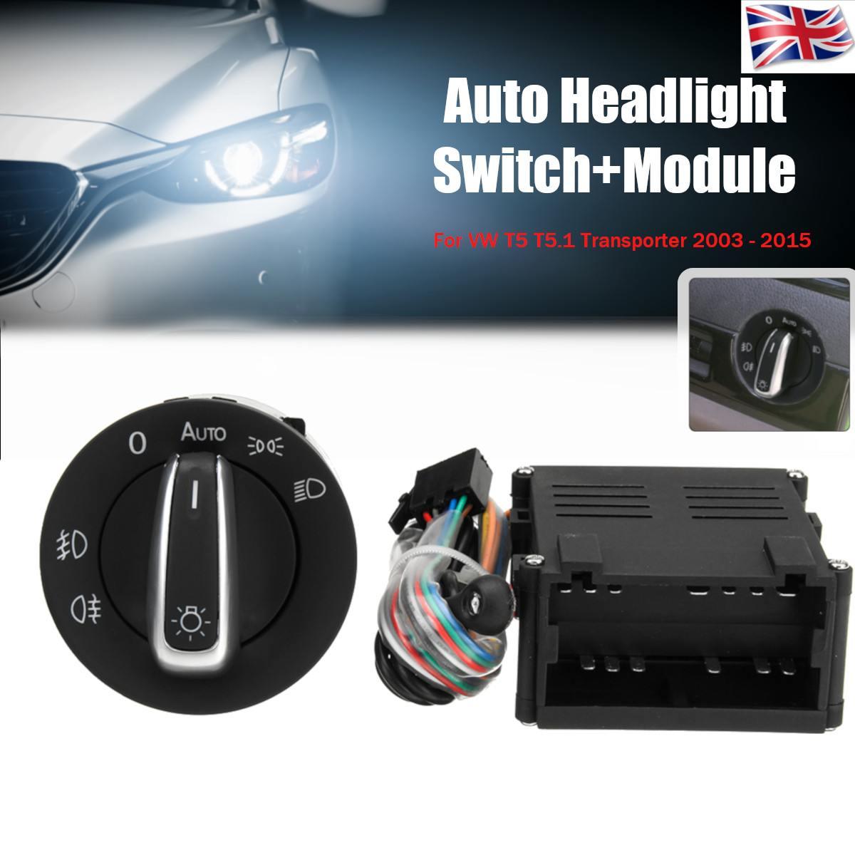 Module de commande automatique de commutateur de bouton de phare de capteur de phare de voiture pour le transporteur 2003-2015 de VW T5 T5.1