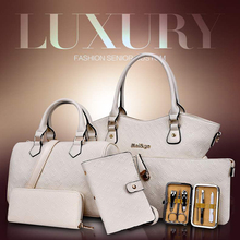 6pcs Bag Set For Women 2019 Luxury PU Leather Handbag Brand Embossed Crossobdy Shoulder Bags Gold Blue Female Totes Purse Clutch