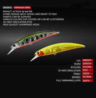 1Pcs Giappone Minnow Artificiais Esca Dura 9.5 centimetri 15g Sinking Esche Da Pesca Dei Ciprinidi Wobblers Crankbait Swimbait 3D di Pesca occhi