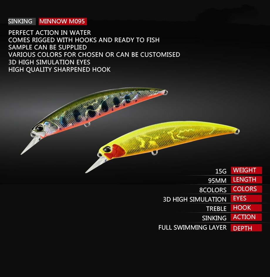 1Pcs Japan Minnow Artificiais Hard Bait 9.5cm 15g Sinking Fishing Lures Wobblers Crankbait Swimbait 3D Eyes