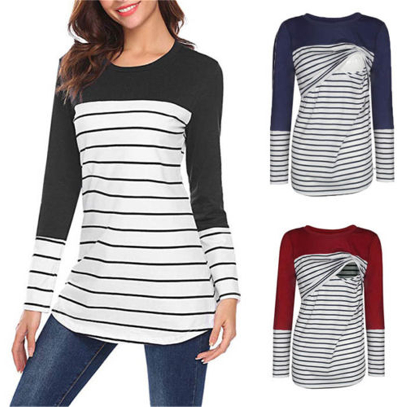 2019 New Women Maternity Striped Shirts Pregnant Nursing Breastfeeding Long Sleeve Cotton Causal Shirt Maternity Nursing Tee Top