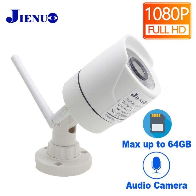 JIENUO 1080P kamera wifi cctv ip bezprzewodowy bezpieczeństwa na zewnątrz wodoodporny 2.0mp HD nadzoru Audio IPCam podczerwieni gniazdo karty tf