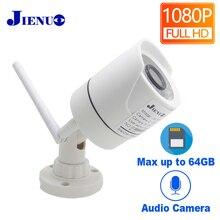 JIENUO cámara ip de seguridad inalámbrica para exteriores, dispositivo de seguridad con Wifi de 1080P, resistente al agua, Audio de vigilancia HD de 2,0mp, IPCam, ranura para tarjeta TF infrarroja