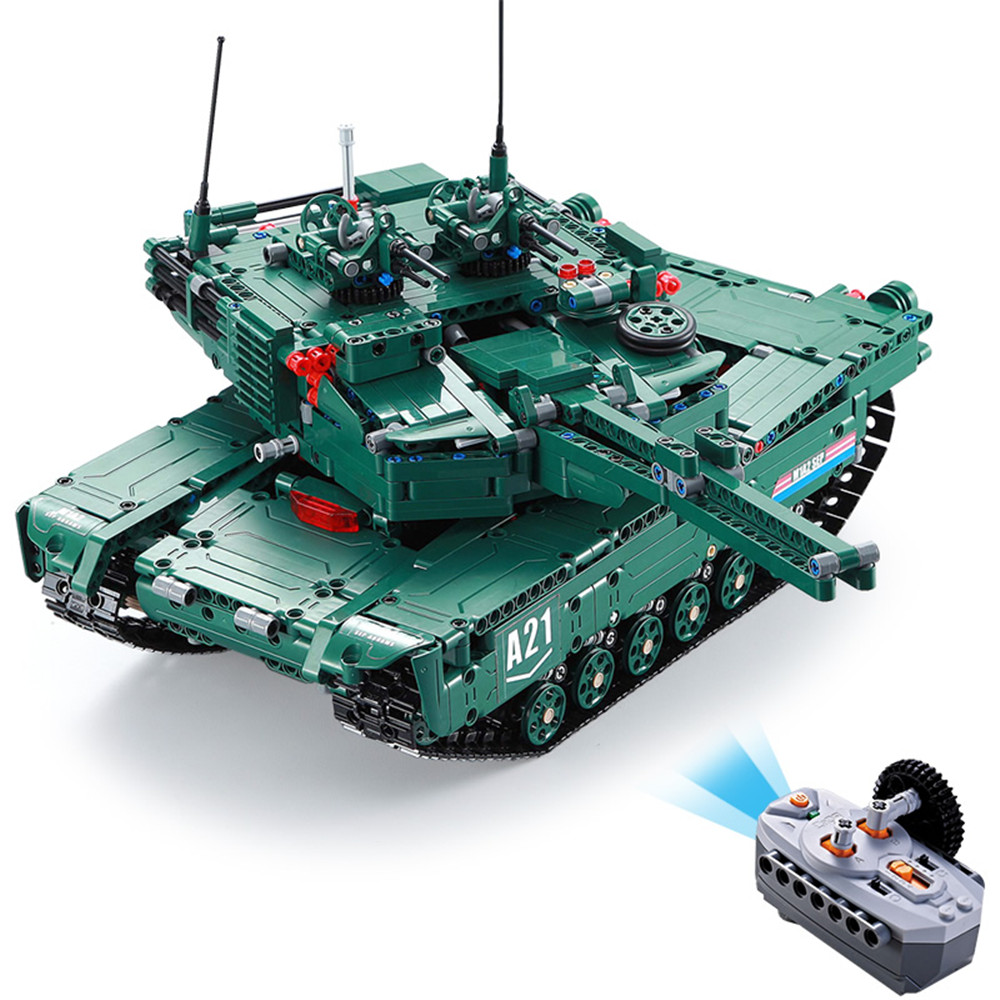 1498PCS Cada Remote Control RC Tank Building Block Brick Toy with Motor Box  Power Function Military War DIY Enlighten Toys For B