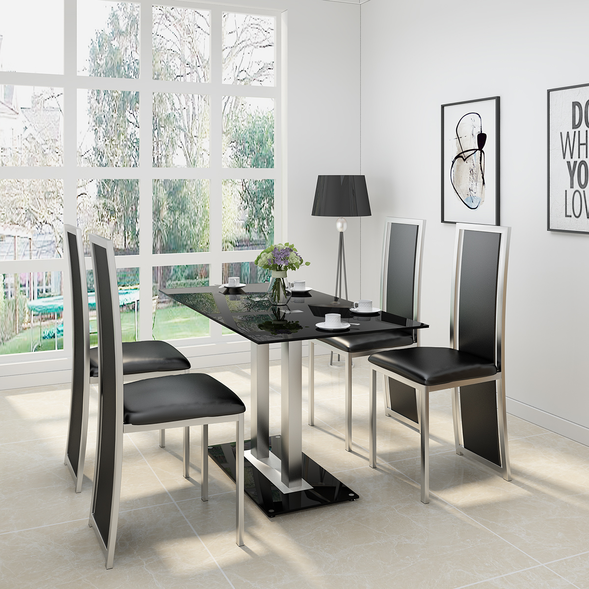 PANANA GLASS DINING TABLE SET WITH 4/ 6 FAUX LEATHER CHAIRS BLACK /WHITE Home Kitchen Furniture Fast Shipping
