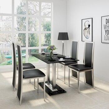 Glazen Huis Meubelen.Panana Glazen Eettafel Set Met 4 6 Faux Lederen Stoelen