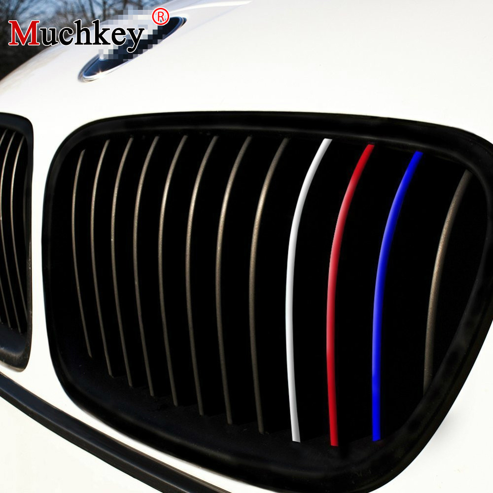 Front Grille Grill Vinyl Strip Reflective Sticker Decal for BMW M3 M5 E36 E46 E60 E90 E92 Grille Stripe Decals Car Styling 24pcs grille