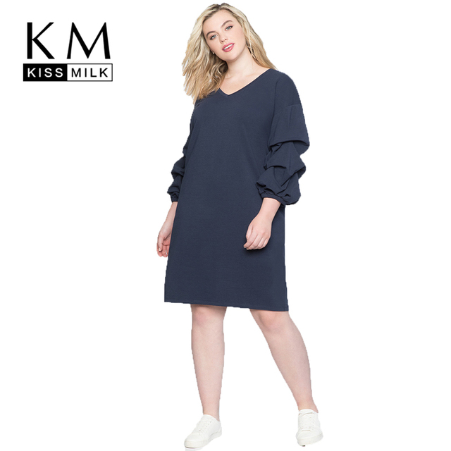 0931b6ea0c US $21.96 39% OFF|Kissmilk V Leader Pleated Closed Straight Sexy Party  Christmas Bodycon Autumn Plus Size Casual Dress Elegant Gothic-in Dresses  from ...