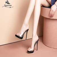 Sgesvier 2019 fashion brand woman shoes women sexy thin high heels peep toe Transparent Pvc wedding party mules sandals G427