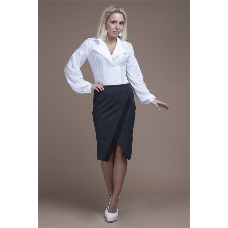 Фото - Office pencil skirt with decorative V-neck v neck fringe tape trim top