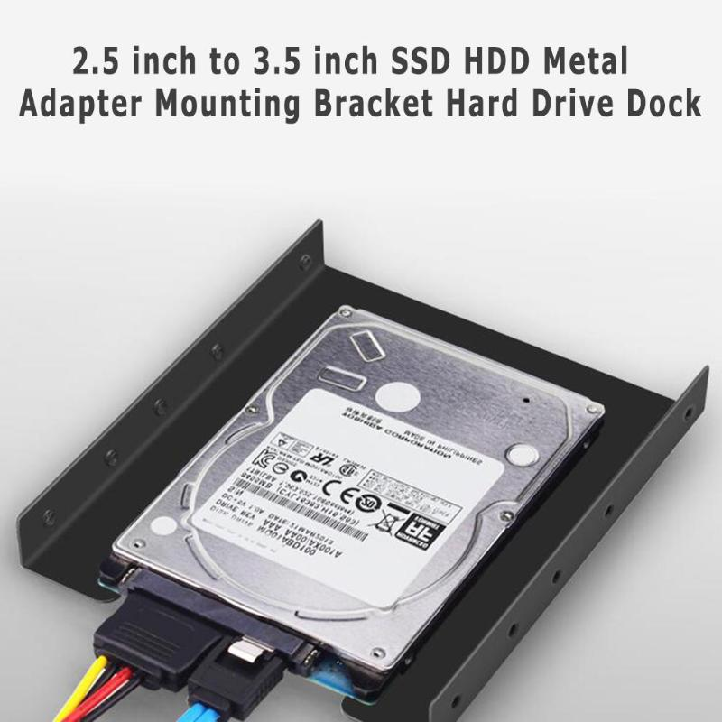 2.5 Inch SSD HDD To 3.5 Inch Metal Mounting Adapter Bracket Dock Hard Drive Holder For PC Hard Drive Hard Disk Enclosure