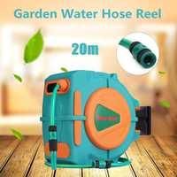 20M 3/4 Auto Rewind Garden Water Hose Reel Retractable Automatic Wall Mounted Outdoor Spray Water Flexible Garden Garage Tool