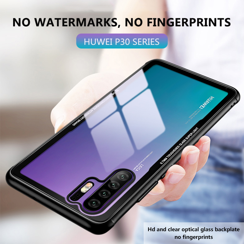 Transparent Glass Case For Huawei P30 Pro Crystal Clear Tempered Glass Back Hard Cover For Huawei P 30 P30Pro Phone Accessories