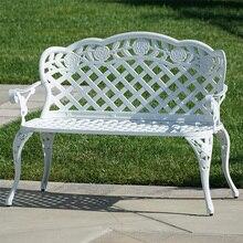 Garden-Chair Patio Benches Loveseats Aluminum White Cast Home-Pool-Deck Rose-Design Courtyard