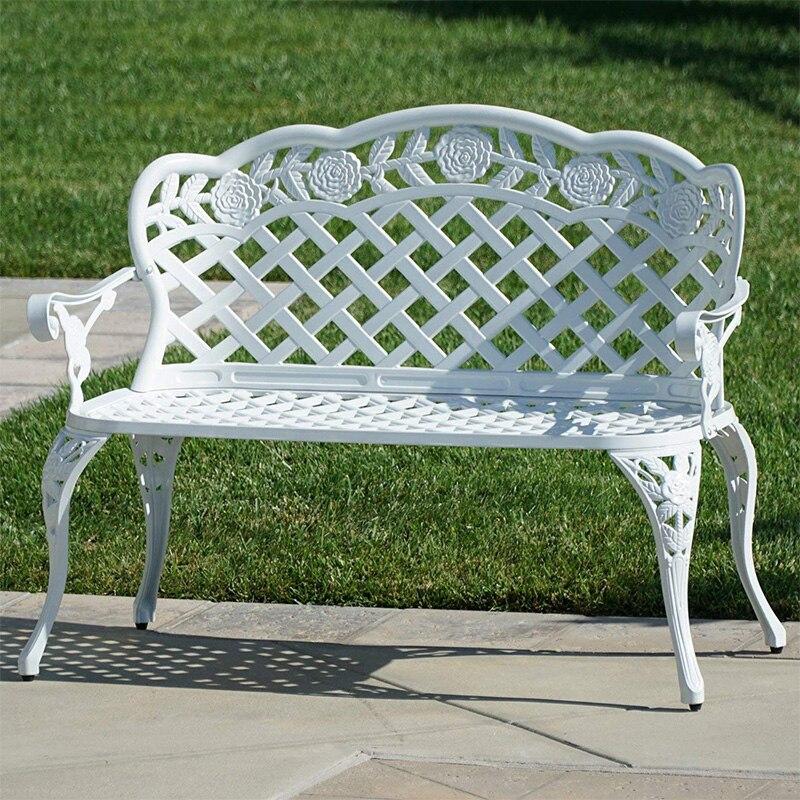 Dois bancos de assento com rose flower design em alumínio fundido durável cadeira de jardim ao ar livre mobiliário de luxo sem almofada