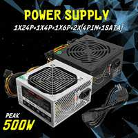 Black/Silver 500W PSU PFC Silent Fan ATX 24pin Sata Computer Gaming Power Supply For Intel AMD PC CAN PC Computer