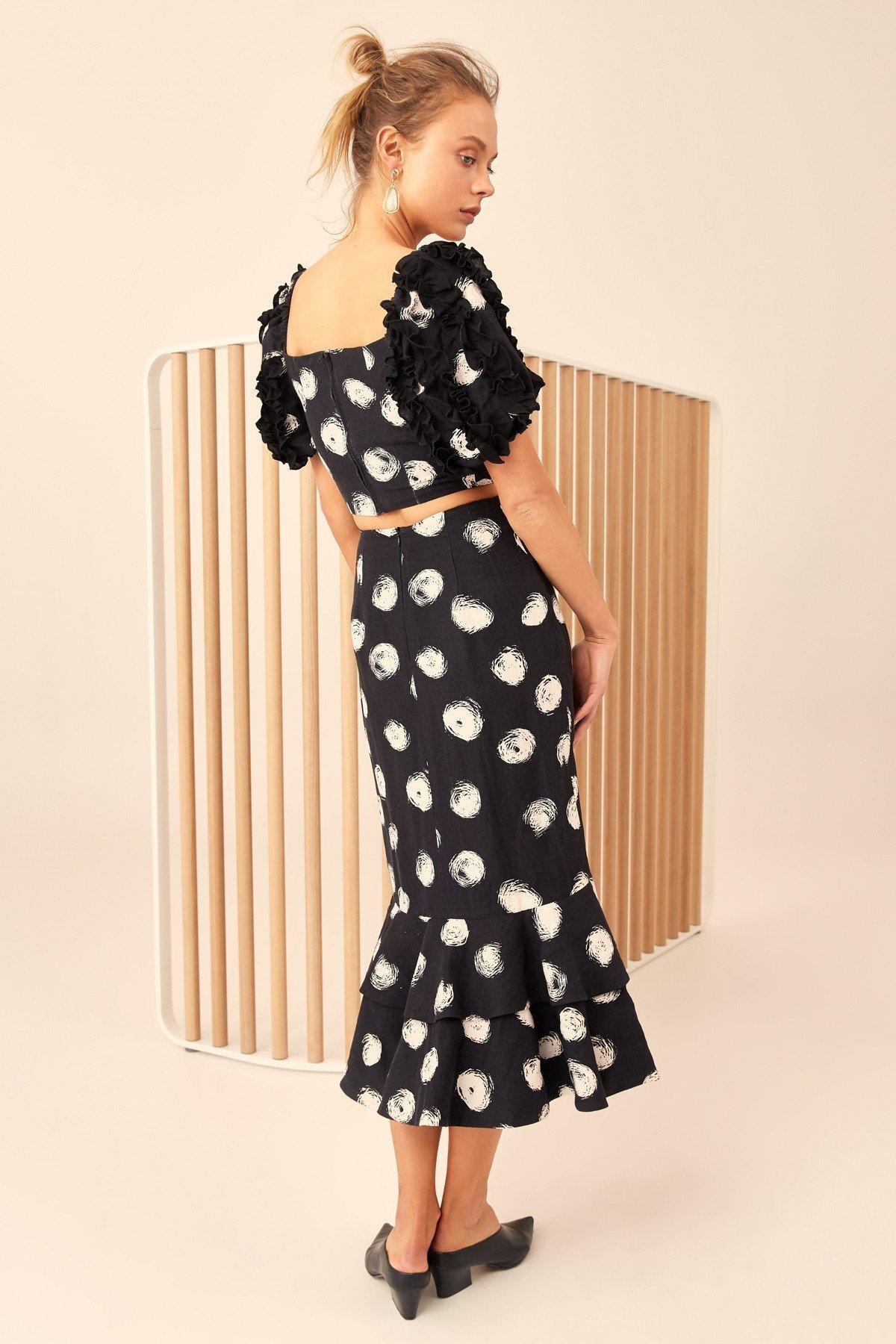 094d9f1f15b white Impression De Nouveau L épaule E210 Mode Printemps Manches Black Sexy  Hors Femme La En Vêtement 2019 Et Pois Été Pour Pétale RfawqTPdP