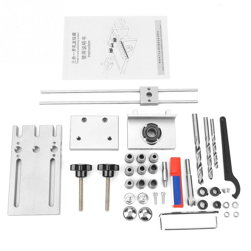 3 in 1 6 8 10 15mm Woodworking Self Centering Dowelling Jig Drill Guide Locator Kit