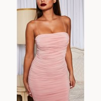 2019 New Summer Women Two Layers Midi Dress Long Ruched Elegant Dress Sexy Slim Club Wear Party Dress