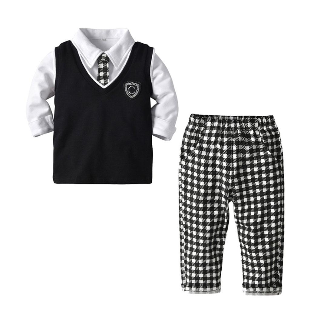 4pcs Baby Boys Clothes Set Plaid Tie And Pants Shirt Vest Clothing Sets Children Gentleman Outfits4pcs Baby Boys Clothes Set Plaid Tie And Pants Shirt Vest Clothing Sets Children Gentleman Outfits
