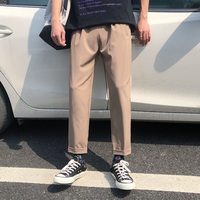 Men's Trousers 19 Spring New Youth Popular Port Wind Large Size S 5XL Men's Wide Leg Pants Nine Points Pants Teen Men's Clothing
