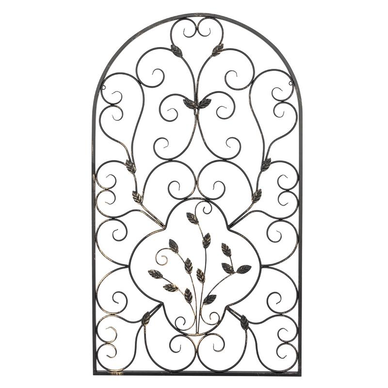 41 Inch Retro Wall Hanging Ornament Decorative Spanish Arch Wall Art Leaf Shape Iron Ornament