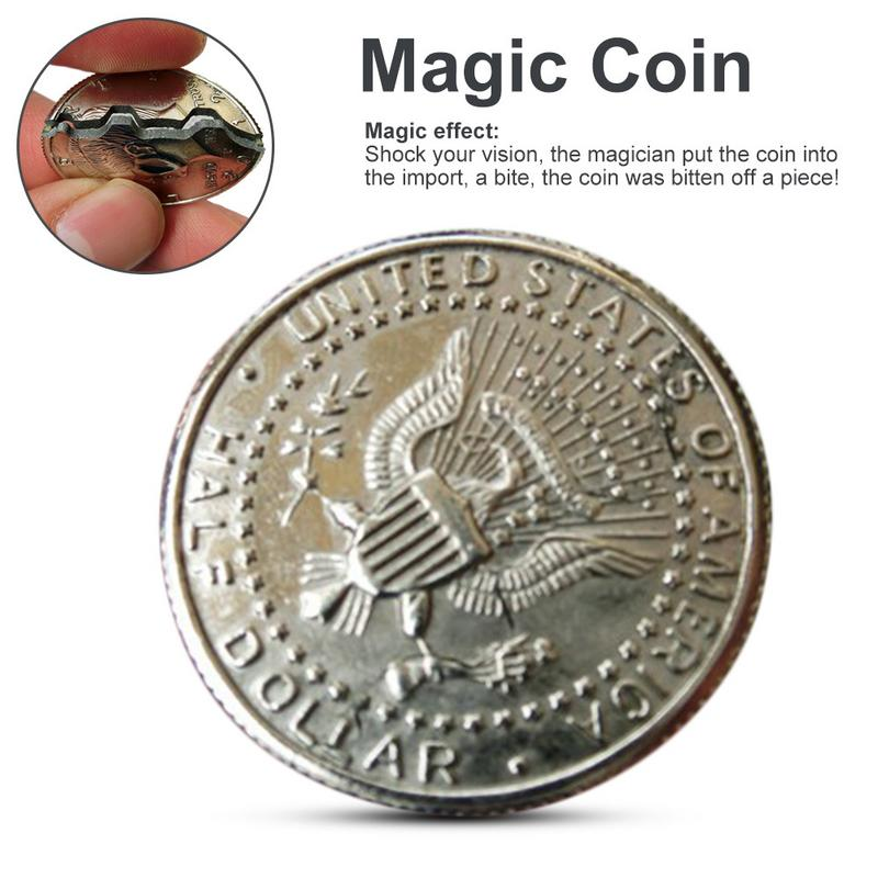 Hot Two Fold Bite Coin Dollars Magic Close-Up Bite Restored Illusion Coin For Magic Show Bitten Coin Coin And Bite Currency