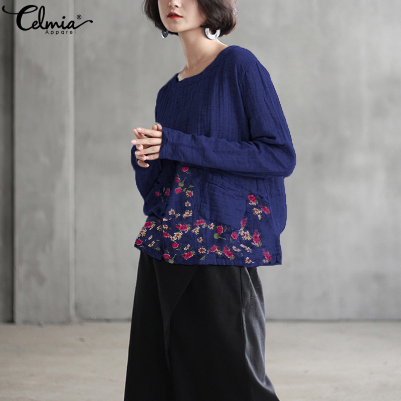 Celmia Plus Size Women Retro Floral Print Blouse 2019 Autumn Linen Tops Long Sleeve Splice Shirt Casual Loose Chemise Blusas 5XL